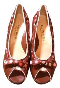 Taryn Rose Leather Peep Toe Brown Pumps