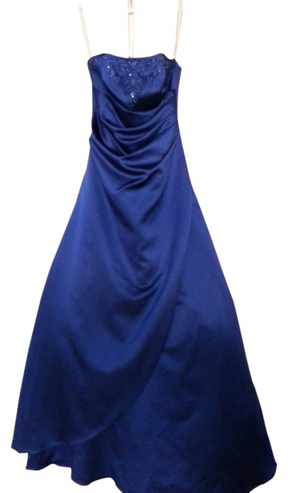 David S Bridal Blue Beaded Strapless Gown Long Formal Dress Size 6 S