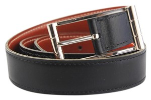 Herms Black and Brick Square Buckle Reversible Belt