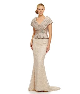 Terani Couture Silver New With Tags Surplice Gown With Lace Skirt Dress