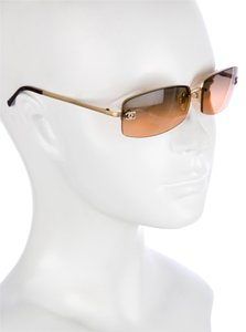 Chanel 4093 B CC Logo Gold Brown Square Wire Rimless Frameless Crystal