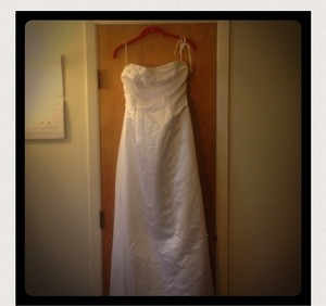 Talbots Beautiful White Wedding Dress With Detailed Beading Across The Top. A-line With Faux Wrap Front. Pic Does Not Capture Wedding Dress