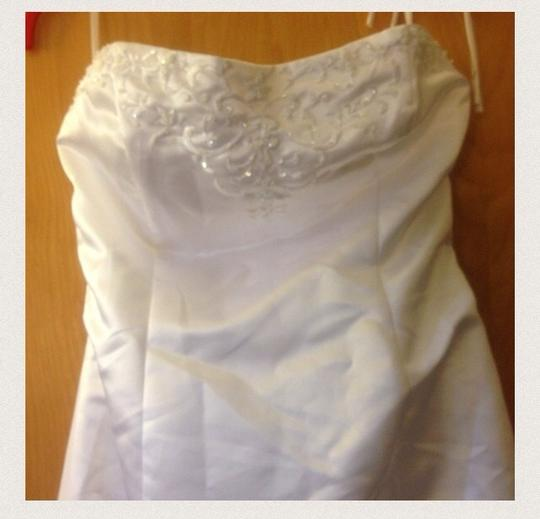 Talbots White Satin and Tafeeta With Detailed Across The Top. A-line with Faux Wrap Front. Pic Does Not Capture All The Great Details Feminine Dress Size 12 (L)