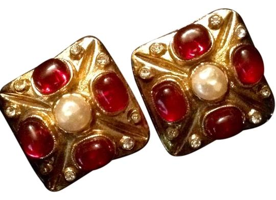 Chanel CHANEL Vintage Red and Pearl Gripoix Clip Earrings