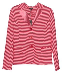 Talbots Striped Multi-Color, Red, White Blazer