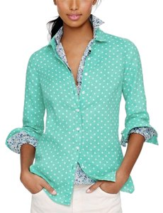 J.Crew Button Down Shirt Mint Green with White Dots