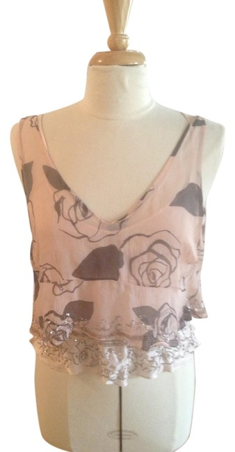 Rebecca Taylor Crystal Silk Camisole Top Pink and Silver