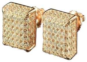 Other Square Earrings Rose Gold Finish Lab Diamond 925 Silver Mens Ladies