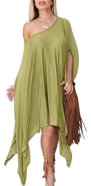 Item - Khaki Green Batwing Dress Blouse Or Poncho/Cape Size 14 (L)