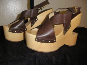 Michael Kors Unique Wooden Brown Platforms