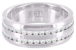 Other Row Mens Ring Channel Set Simulated Diamonds White Gold Tone Stainless Steel