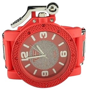Mens Red Silicone Watch Rubber Bullet Style Strap Red Dial Stainless Steel Back