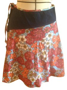 Anthropologie Floral Denim Tie Skirt Floral/Denim