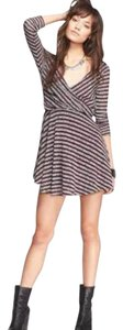 Free People short dress Eggplant Striped Surplice Gray Small Stretchy Spring Summer on Tradesy