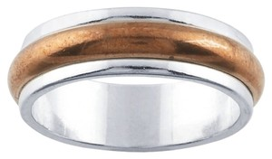 Other Handcrafted Handmade Designer Sterling Silver and Copper 6mm Spinner Half-Round Band Ring by BrianG @ BrianGdesigns