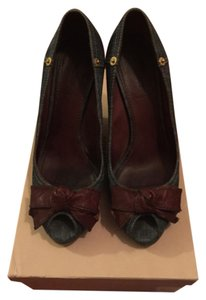 Miu Miu Denim and brown leather Platforms