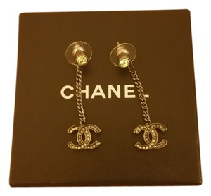 Chanel Chanel Rhinestone Logo Earrings 2167