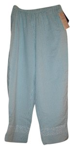 Susan Graver Relaxed Pants teal/white check