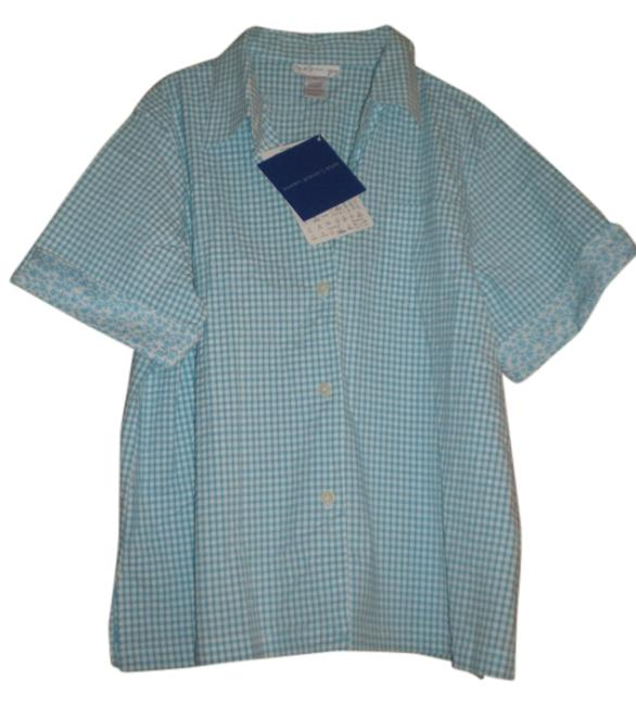 Preload https://img-static.tradesy.com/item/11124427/susan-graver-teal-and-white-check-button-down-top-size-14-l-0-1-650-650.jpg