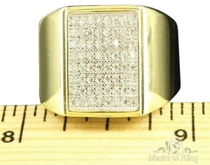 Other Mens Gold Finish Ring Fashionable Everyday Wear Lab Diamond Band Over 925 Silver