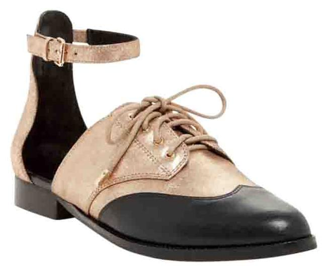 Item - Black and Gold New Maddie Ankle Strap Oxford Flats Size US 8.5 Regular (M, B)