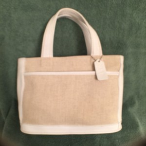 Coach Leather Tote Handbag Satchel in White Linen