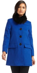 Alice + Olivia Longo Blue Fur Fur Removable Fox Pea Coat