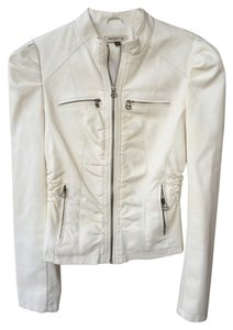 Arden B. Faux Faux Leather Ivory Leather Jacket