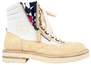 Chanel Suede Canvas Combat Boot Beige Boots