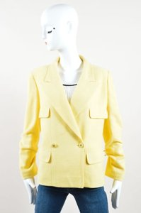 Chanel 98c Wool Cotton Cc Button Double Breasted Blazer Yellow Jacket