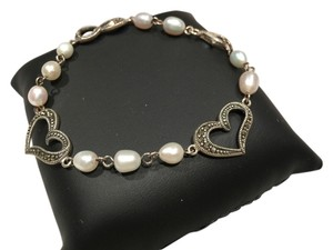 Marcasite Heart and Faux Pearl Bracelet
