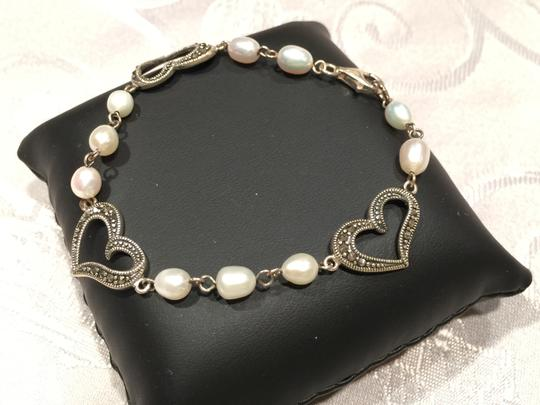 Other Marcasite Heart and Faux Pearl Bracelet (7-1/2