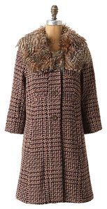 Anthropologie Faux Fur Houndstooth Tiny Pea Coat