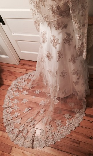 Oleg Cassini Ivory Satin and Lace Ct003 Vintage Wedding Dress Size 6 (S)