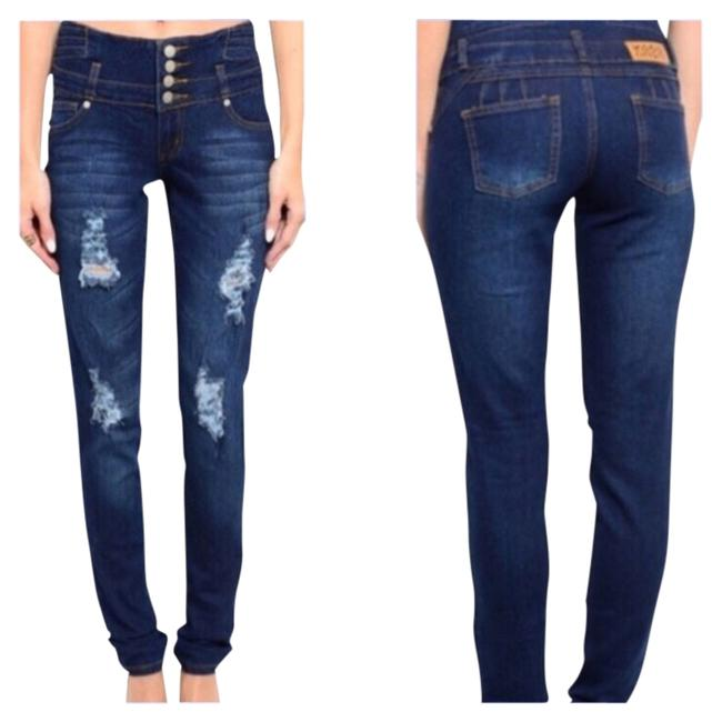 Preload https://img-static.tradesy.com/item/11127604/blue-medium-wash-high-waisted-junior-distressed-sizes-0-15-skinny-jeans-size-24-0-xs-0-3-650-650.jpg