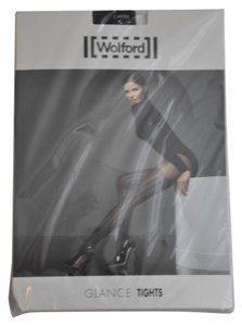 Wolford Wolford Brand New Black Glance Tights with Stripes and Swarovski crystals Size L