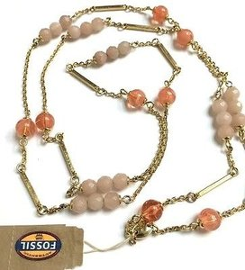 Fossil Fossil Ja5860710 Gold Tone With Rose Quartz Fashion 36 Necklace