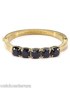 Kate Spade Kate Spade Wbru9454 Gold Squared Away Black Charm Bangle Bracelet