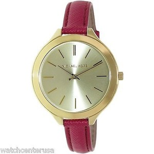 Michael Kors Michael Kors Mk2298 Gold Slim Runway Watch W Merlot Leather Band