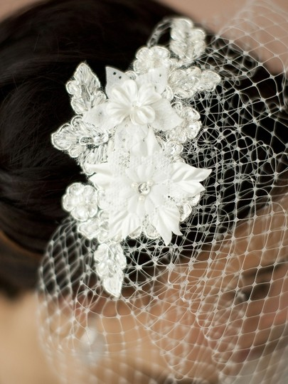 Couture Vintage French Net Veil With Beaded Floral Applique
