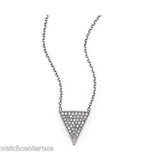 Michael Kors Michael Kors Mkj4070 Silver Tone Brilliance Triangle Pendant Necklace
