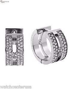 Michael Kors Michael Kors Mkj4447 Silver Pave Huggie Earrings
