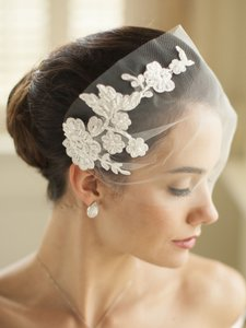 White Or Ivory Short Tulle Visor with Beaded Lace Applique Bridal Veil