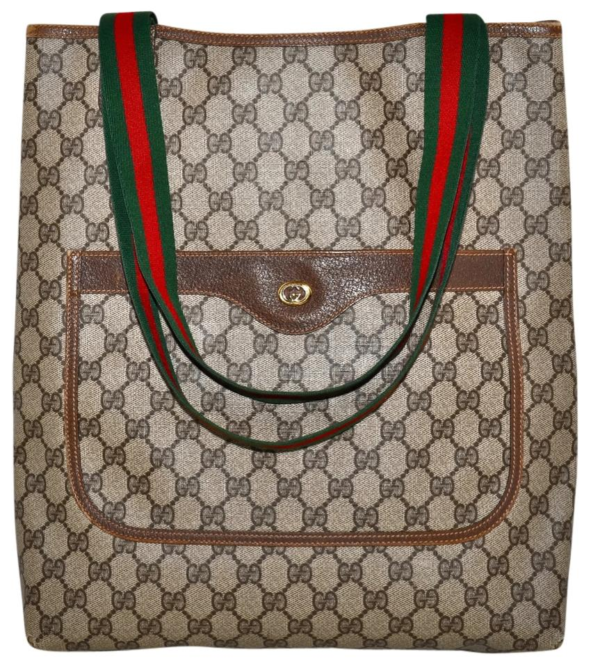 b427fe03e7b80 Gucci Bag Vintage 80s Monogram Shopper with Green and Red Striped Shoulder  Straps Brown Leather & Coated Canvas Tote 79% off retail