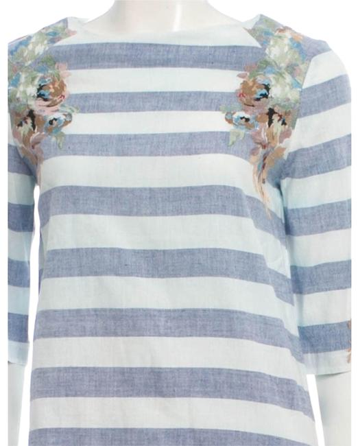 SUNO Embroided Floral Design Cotton Vintage Top Blue and White