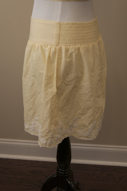 Charlotte Russe Floral Machine Washable Embroidered Mini Skirt Yellow