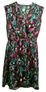 Buttons short dress Teal and purple floral Summer on Tradesy