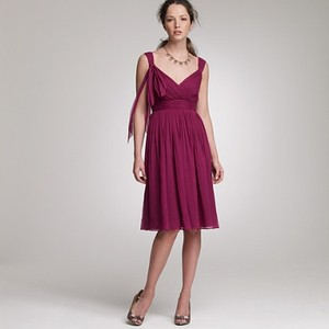 J.Crew Sangria Silk Chiffon Beaujolais 17379 Feminine Bridesmaid/Mob Dress Size 6 (S)