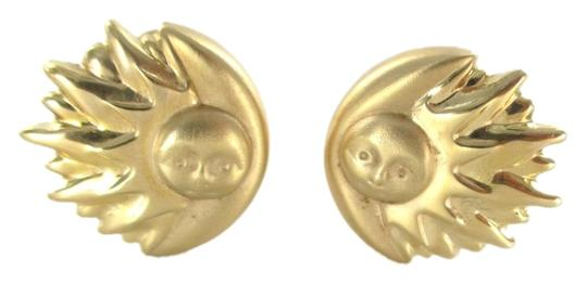 Other 14KT YELLOW GOLD EARRINGS BUTTON SUN & MOON