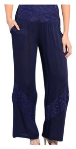 Other Womens Juniors Lace Business Causal Flat Front Elastic Waist Date Night Flattering Wide Leg Pants Blue